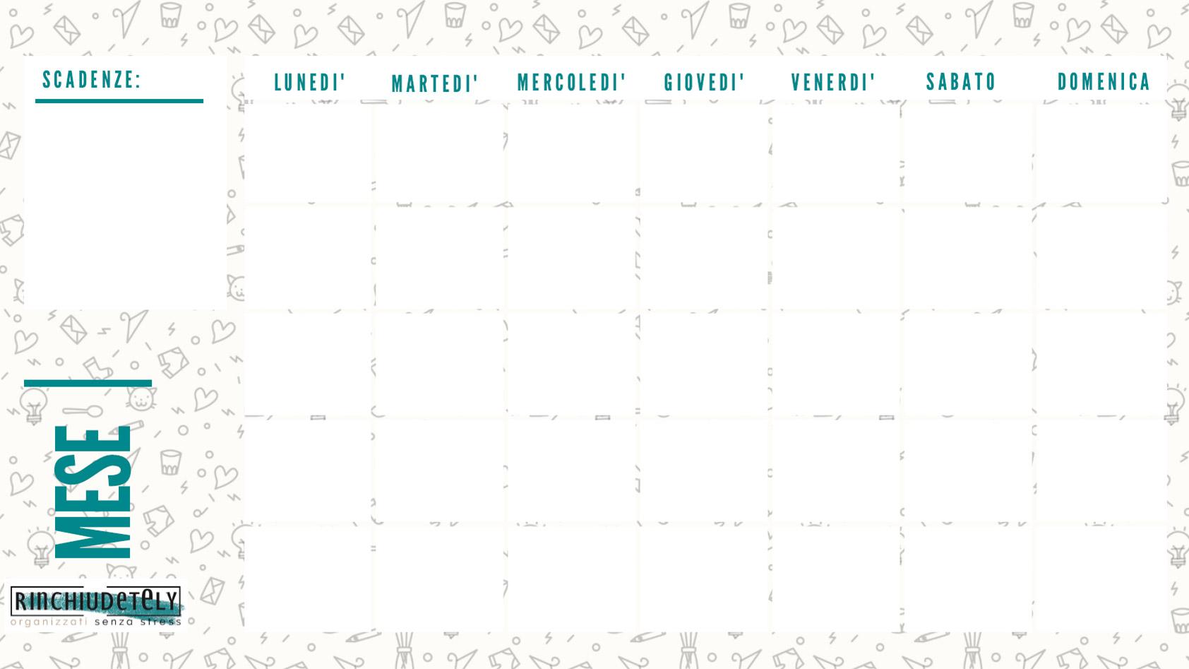 Planner mensile Rinchiudetely